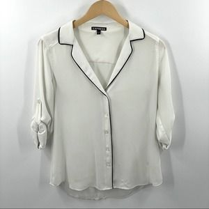 Express | White Chiffon Blouse with Black details